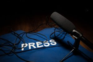 Media,Journalism,Global,Daily,News,Content,Concept.,Blue,Journalist,(press)